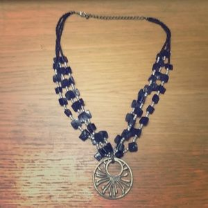BLACK NECKLACE WITH SILVER MEDALLION